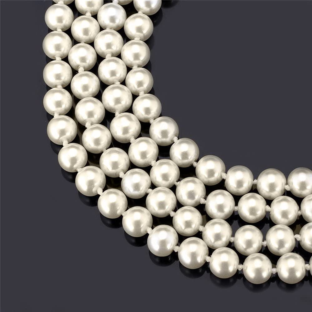 CrazyPiercing Faux Pearls Beads Necklace Glass Strand Beads Necklace Chain 1920s Fashion Imitation Pearls Long Necklace Vintage Costume Jewelry Necklace 55 Diameter of Pearl 0.32 for Women Girls