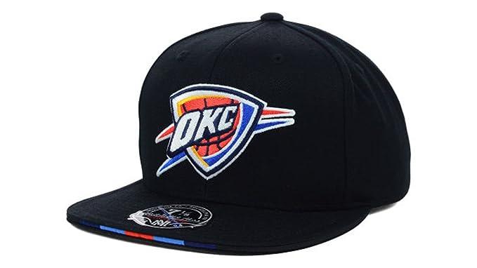 e793bbc4d54 Oklahoma City Thunder Men's Mitchell & Ness NBA Basketball Super Stripe Fitted  Hat Cap - Black