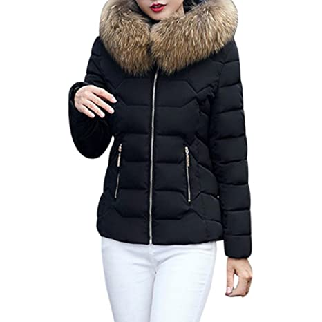 10f654ae262 Fashion Women Solid Thicker Winter Warm Slim Fit Down Jacket Coat Faux Fur  Hooded Overcoat Parka