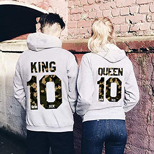 NIMAMA King Queen Stampare Felpa con Cappuccio Donna Uomo Cappotto Giacca Manica Lunga Hoodies Sweatshirt Tops Coppie Corona Stampa Felpe Pullover Uomo e Donna 1Pcs
