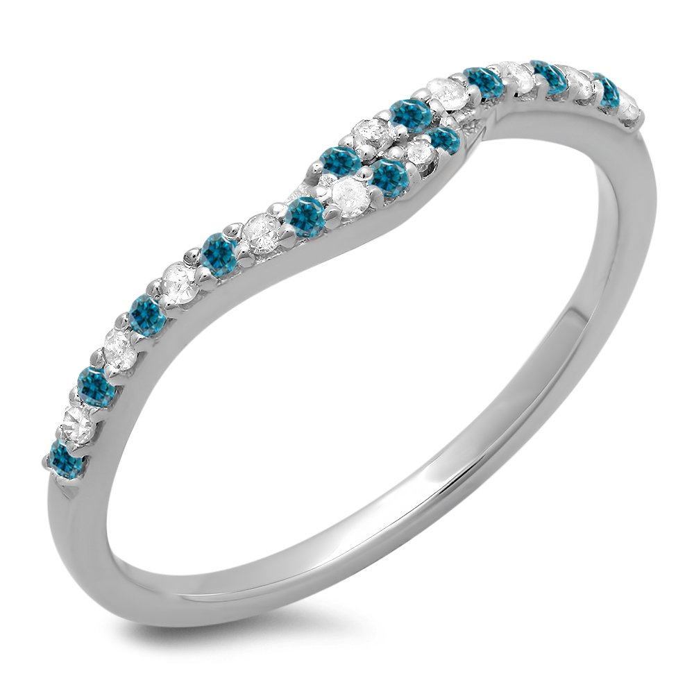 0.20 Carat (ctw) 14K White Gold Round Blue & White Diamond Ladies Wedding Guard Band 1/5 CT (Size 7)