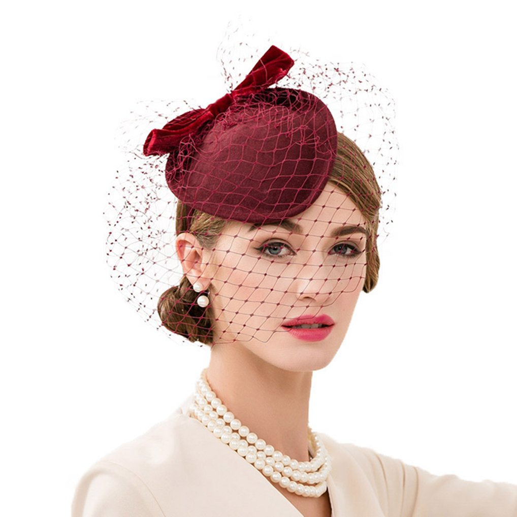 ff0c0a742f52a Vic Gray Women Fascinator Wine Red Wool Felt Pillbox Hat with Veil British  Cocktail Fedora at Amazon Women s Clothing store