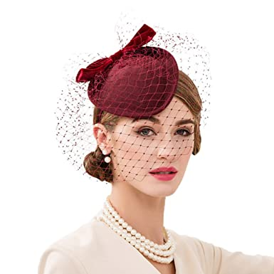 Vic Gray Women Fascinator Wine Red Wool Felt Pillbox Hat with Veil ... f73f39d5c0e