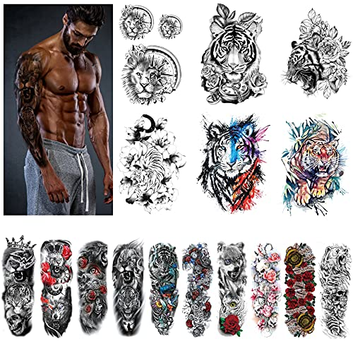 KOMMOK Full Arm and Half Arm Temporary Tattoo, Extra Large Temporary Tattoos Comes with 5 Sheets Tiny Tattoo(21 Sheets)