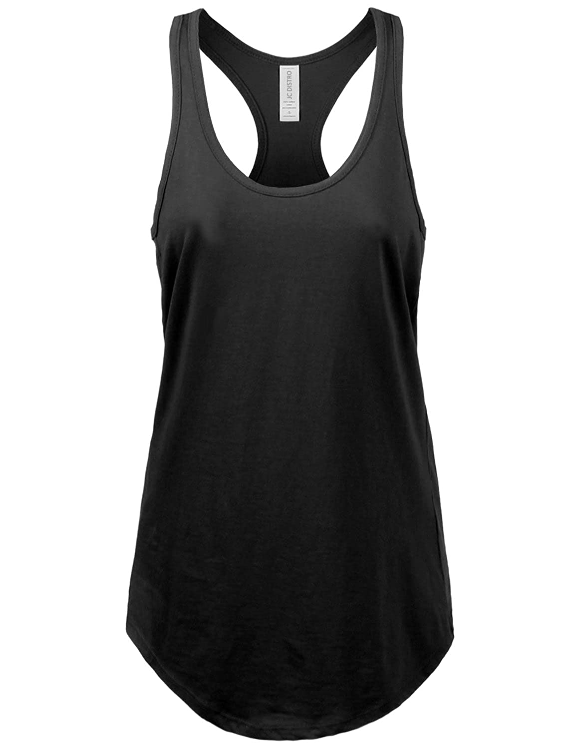 Jc Distro Womens Basic Jersey Racer Back Tank Top With T Shirt Scallop Bottom Clothing