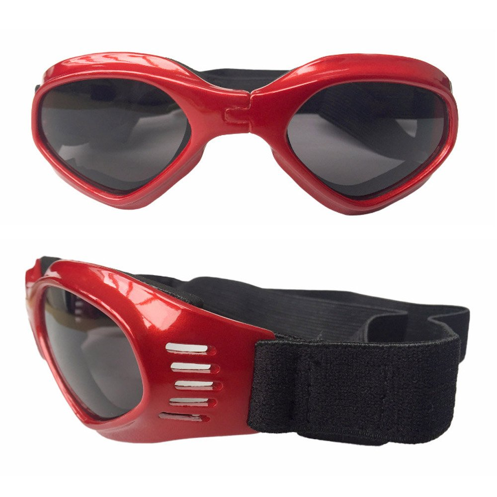 CAZZO Cool Pet Dog Motorcycles Bike Helmet/Sunglasses for Sun Rain Protection,Funny Halloween Cosplay Costume and Christmas Gifts for Cats Dogs (Red Sunglasses)