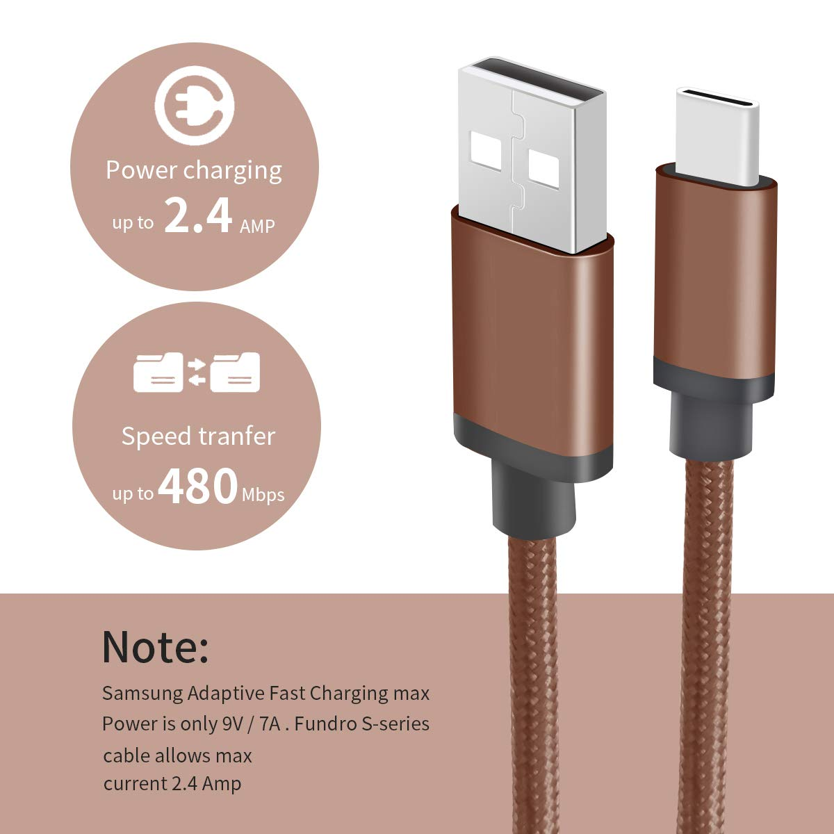 For Samsung S8 Type C Charger Cable 2-Pack 6.6FT Note 8 // Note 9 and more Fundro Lilac Purple USB C Adaptive Fast Charging Charger Nylon Braided Cord for Samsung GalaxyS10 S8 Plus // S9 // S9 Plus
