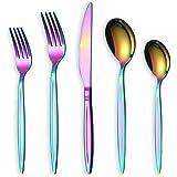 Rainbow Flatware Set 20 Pieces, Stainless Steel Colorful Silverware Set, Titanium Plating Rainbow Cutlery Set, Rainbow Utensi