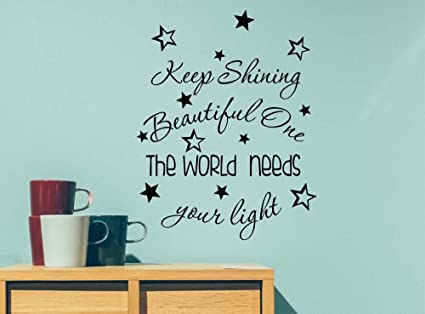 Letters Wall Decor Stickers Keep Shining Beautiful One The World
