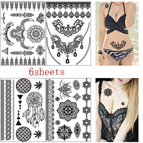 6 Sheets Henna Black Tattoo Stickers, Henna Body