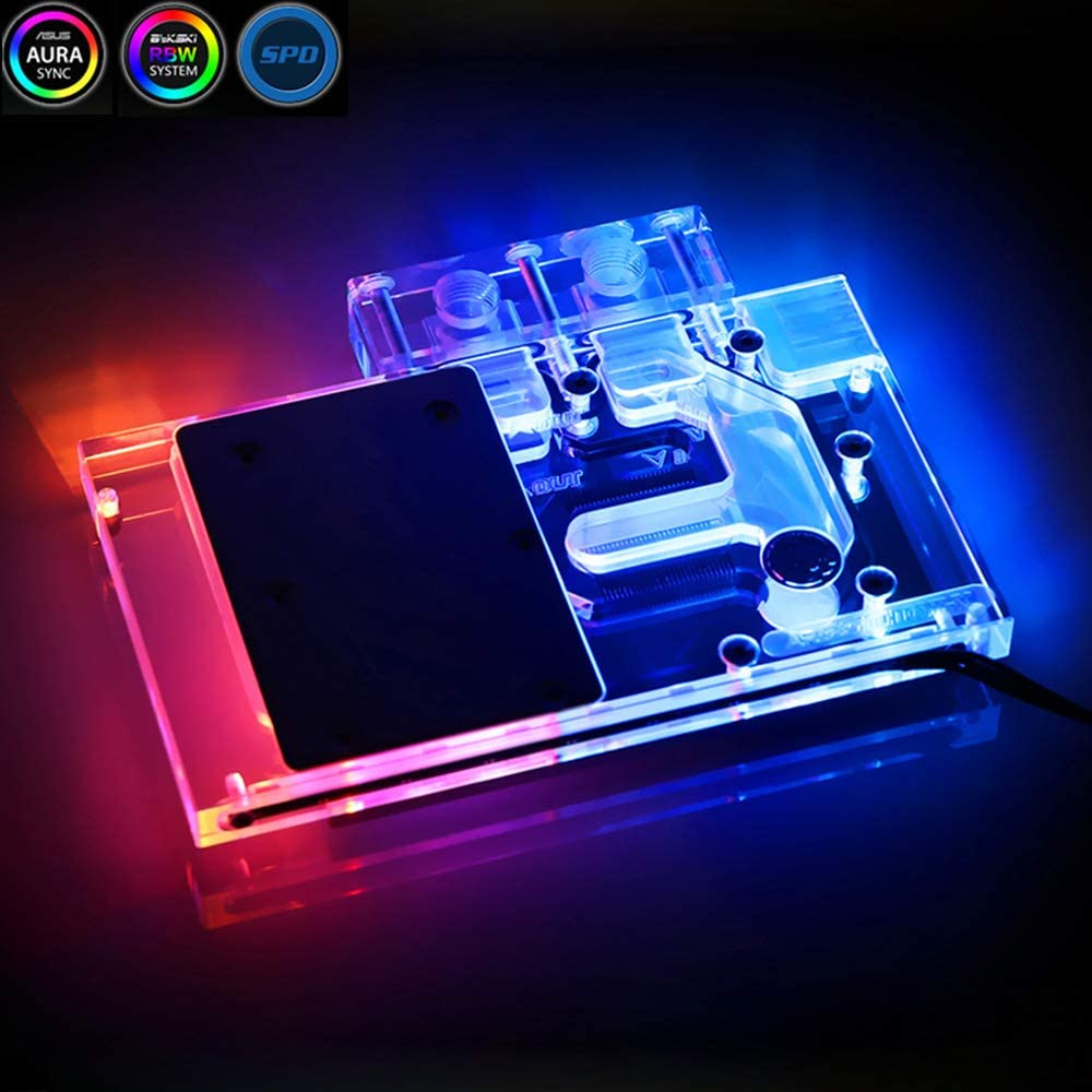 Bykski GPU Copper RBW LED Water Cooling Block for Founder Edition RX580 HDMI