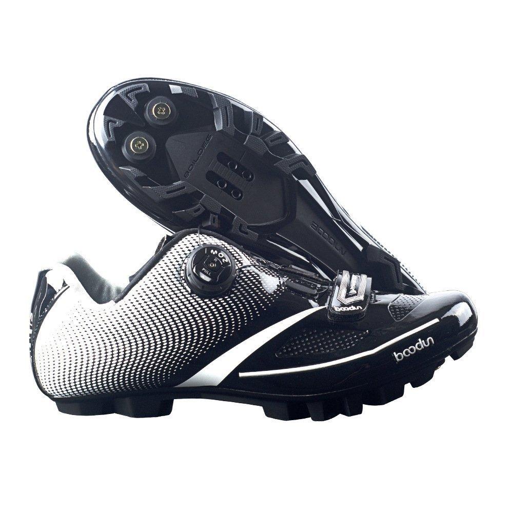 メンズ自転車マウンテンバイクシューズノンスリップセルフロックサイクリングシューズミラースーパーファイバーMTBシューズ B07DGX1RP2 43 ブラック
