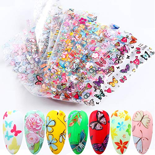 10 Pcs Nail Art Accessory Foils Colorful Nail Foil Transfer Stickers Butterfly Flower Pattern Nail Decal Transfers for Manicurist and Love Beauty Women Acrylic False Natural Nails Decorations Designs