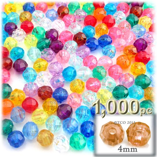 The Crafts Outlet 1000-Piece Faceted Plastic Transparent Round Beads, 4mm, Multi ()