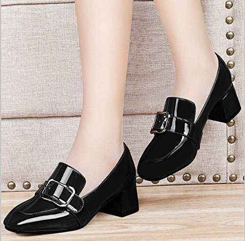 KHSKX The Thick Black Square Head With A Shoe The Fan Girl Shoes The Spring New Korean Version Of The Wild And Soy Beans Shoes 35 MPRSMQJmJT