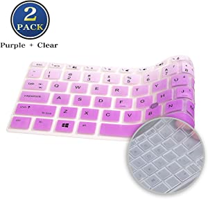 "2 Pack HP EliteBook Keyboard Cover 14 Inch, Slicone Keyboard Skin for 14"" HP EliteBook 840 G5 G6, HP EliteBook 745 G5 G6 14 Inch, HP ZBook 14u G5 G6 Cover(Ombre Purple+Clear)"