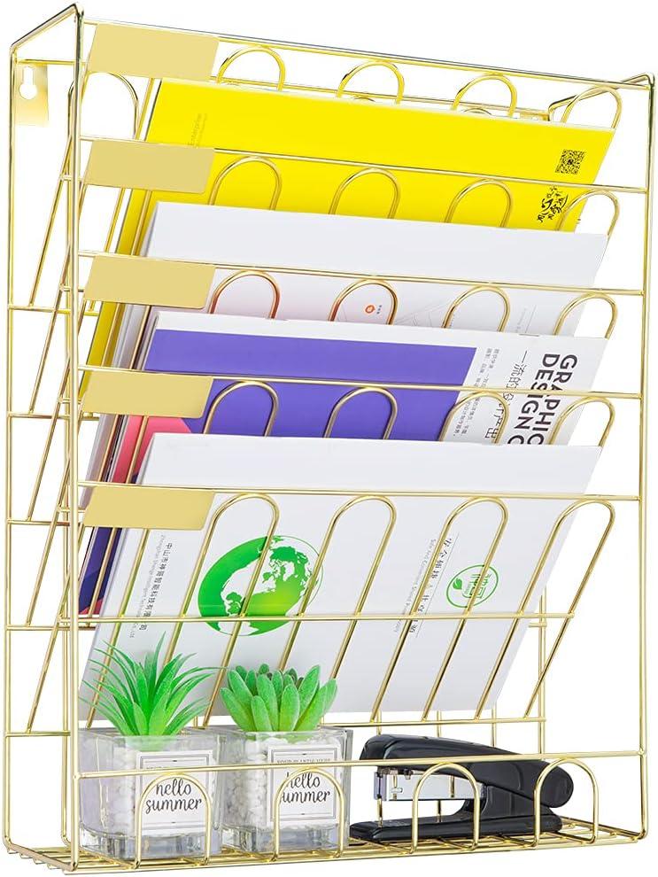 Spacrea Hanging File Holder Organizer - 6 Tier Wall Mount File Organizer, Hanging Wall File for Office, School or Home (Gold)