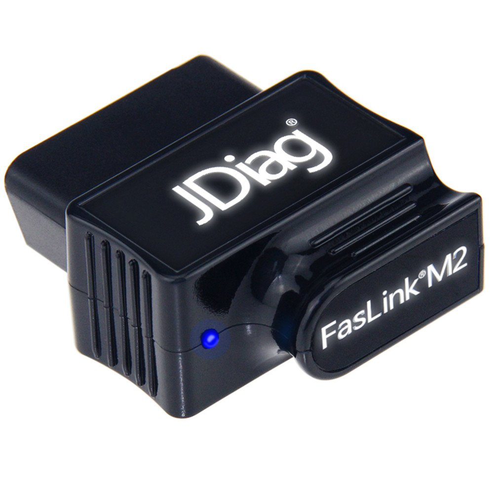JDiag Faslink M2 Car OBDII Mode 6 Diagnostic Scanner OBD2 Bluetooth Scan Tool Automotive Check Engine Light Code Reader for iPhone, iPad & Android