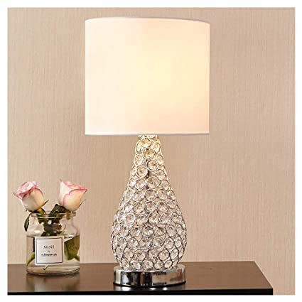 Attirant POPILION Alloy Crystal Base Livingroom Bedroom Bedside Table Lamp,Wide  Lampshade