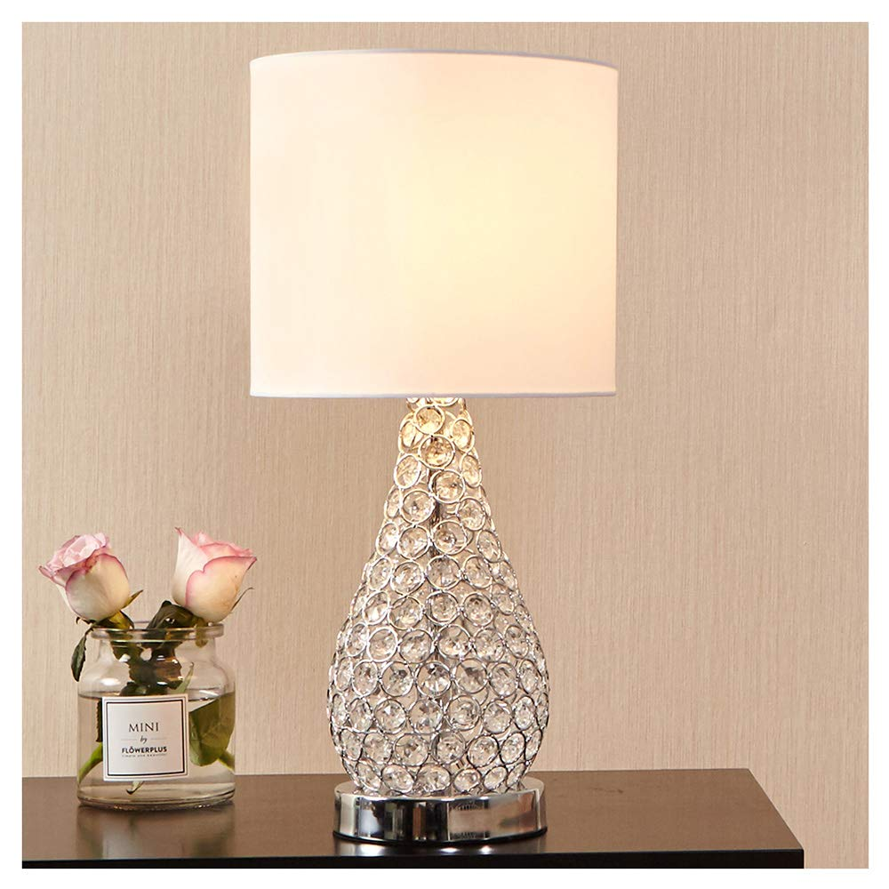 POPILION Alloy Crystal Base Livingroom Bedroom Bedside Table Lamp,Wide Lampshade