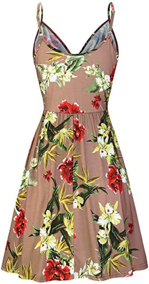 Navy,XL Summer Dresses For Women Clearances Vintage Printed Sleeveless Strappy Summer Beach Swing Camis Dress For Anniversary,Party,Valentines Day
