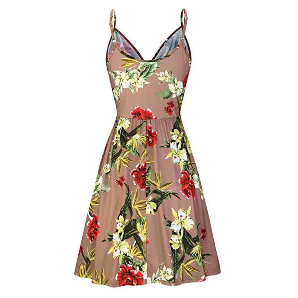 Holiday Irregular Dress,Summer Strappy Side Elastic Knot Kekebest 2019 Summer Print Sleeveless Knee Skirt Dresses for Womens