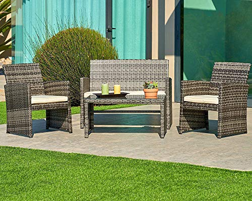 Suncrown Outdoor Furniture Grey Wicker Conversation Set with Glass Top Table (4-Piece Set) All-Weather | Thick, Durable Cushions with Washable Covers | Porch, Backyard, Pool or Garden (Wicker Porch Furniture)