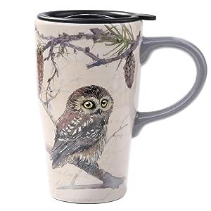 Minigift Tall Ceramic Travel Coffee Cup/Mug With Lid 16oz-Owl Mug