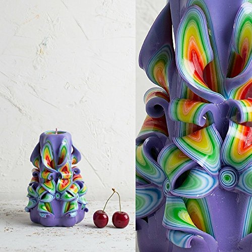 Candle - Carved Handmade Purple Rainbow - Mother's Day Gifts Ideas - Home Decoration - - Certificate Singapore Gift