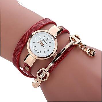 inkach® mujeres vintage correa de piel de ángel pulsera relojes reloj de pulsera (rojo): Amazon.es: Jardín