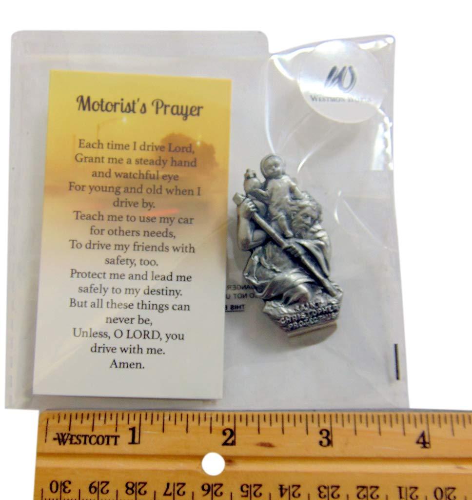Westmon Works St Christopher Car Visor Clip Set with Patron Saint of Travelers Prayer Card