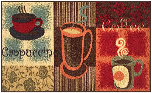 Kitchen Collection Coffee Lover Cappuccino Multi-Color Printed Slip Resistant Rubber Back Latex Contemporary Modern Runner Area Rug (9081) (18'' x 30'' Mat) by RugStylesOnline