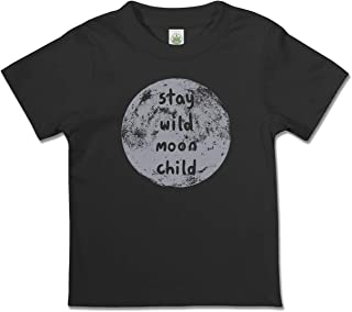 product image for Soul Flower Stay Wild Moon Child Organic Cotton Kids T-Shirt, Black Unisex Graphic Short Sleeve Tee for Children