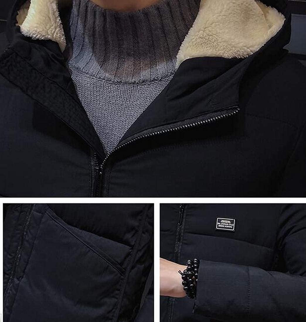OTW Mens Mid Length Thicken Slim Thermal Hooded Casual Quilted Jacket Parka Coat Outerwear