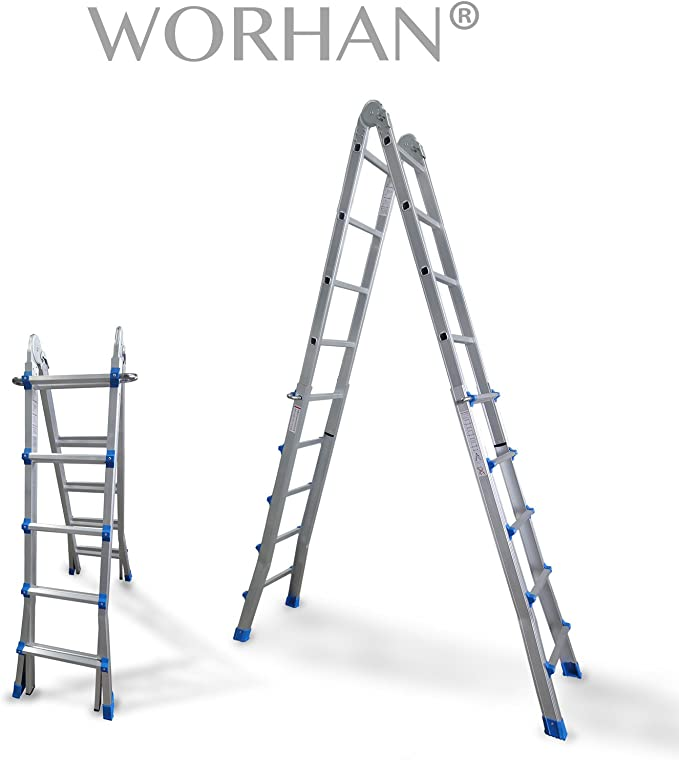 WORHAN® Escalera 530cm Aluminio Telescopica 5.3m Multifuncion Multiuso Aluminio Plegable Tijera L5: Amazon.es: Electrónica