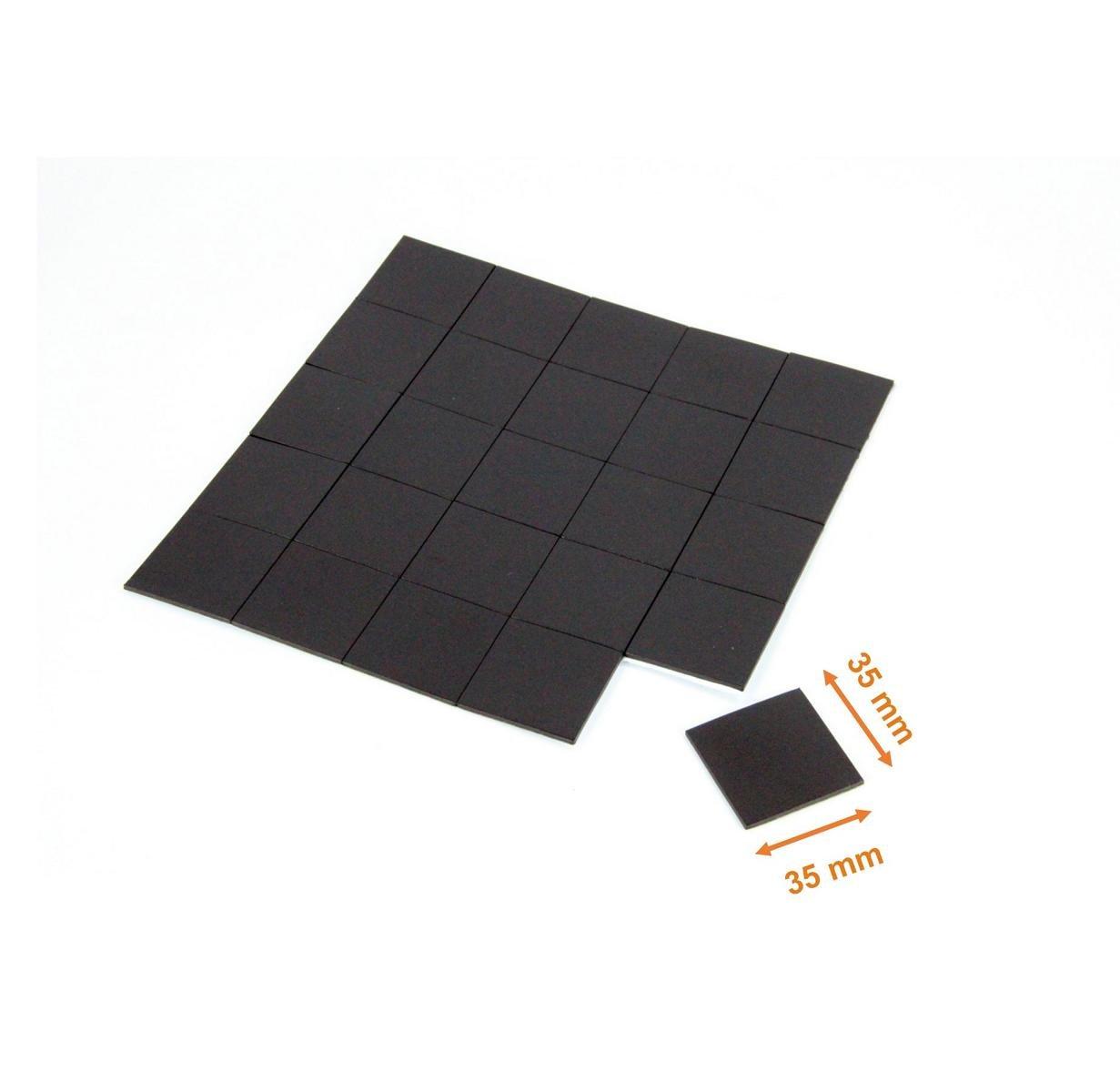 35x35 mm ZADAWERK/® L/ámina magn/ética 1,8 mm autoadhesiva 25 piezas