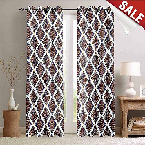 Hengshu Paisley Window Curtain Fabric Wall Paper Like Design with Ornamental Floral Classical Tribal Pattern Image Drapes for Living Room W72 x L108 Inch Multi Colored ()