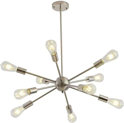 Sputnik Chandeliers 10 Lights Modern Pendant Lighting Industrial Vintage Ceiling Light Fixture, Nickel