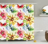 Ambesonne Watercolor Flower Decor Shower Curtain Set, Spring Flower Pattern Print Watercolor Effect Image Country Style Floral Design Art, Bathroom Accessories, 69W X 70L Inches, Multi