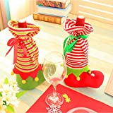 2Pcs/Set Christmas Elf Candy Socks Wine Bottle Wrap Bag Cute Style Wine Bottle Decoration