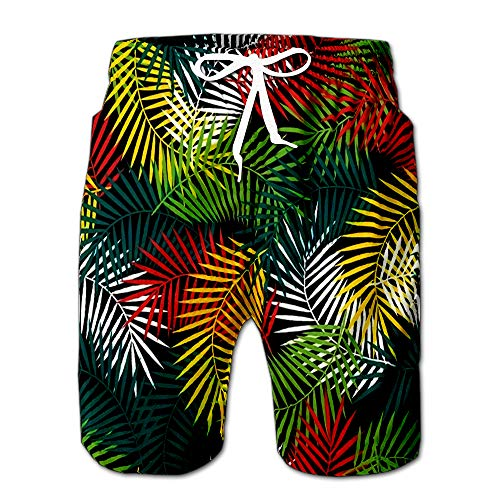 (Tropical with Stylized Coconut Palm Leaves Drawstring Shorts Beach Baskestball Pants S )