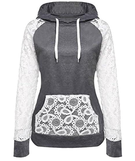 1aa3e3f5ce7 Abetteric Women Hooded Pockets Drawstring Lace Trim Splicing Sweatshirts at  Amazon Women s Clothing store