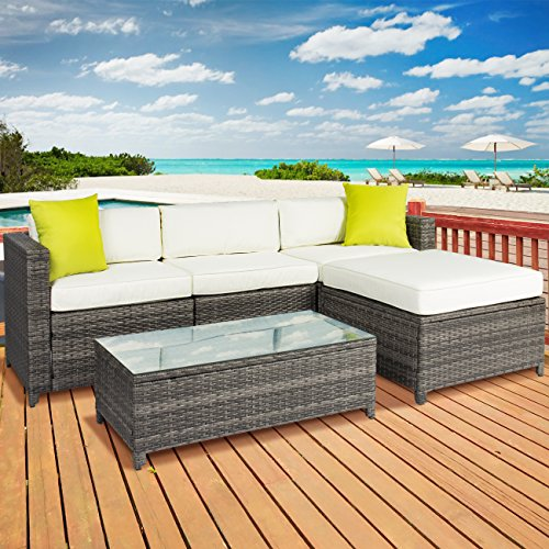 Best Choice Products 5PC Rattan Wicker Sofa Set Cushioned Sectional Outdoor Garden Patio Furniture Grey (Grey Rattan Patio Furniture)