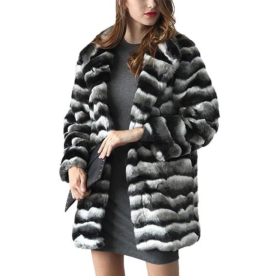 04acb5b46691 iBaste Faux Fur Coat Womens Fashion Long Sleeve Fake Fox Jacket Winter Warm  Fluffy Outerwear Overcoat: Amazon.co.uk: Clothing