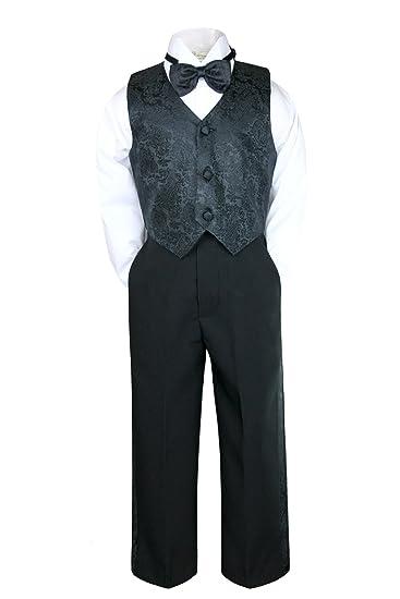 M: 6-12 months Leadertux 4pc Formal Little Boys Champagne Vest Necktie Set White Pants Suit S-7