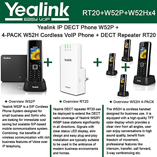 (Yealink W52P IP DECT Phone + 4PACK W52H Cordless VoIP Phone + DECT Repeater RT10)