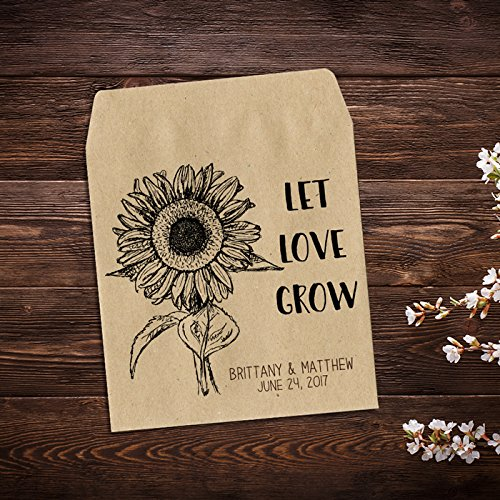Amazon.com: Personalized Wedding Favor Sunflower Seed Packets, Seed ...