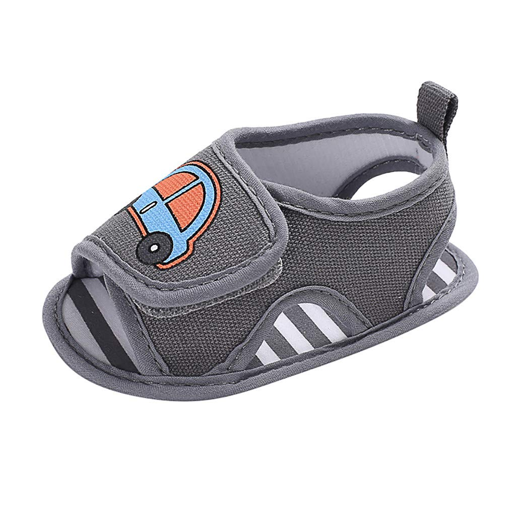 Tantisy ♣↭♣ Baby Shoes Boys Infant Newborn Baby Cartoon Car Single Shoes Outdoor Slippers Non-Slip Soft Sole Sandals Gray