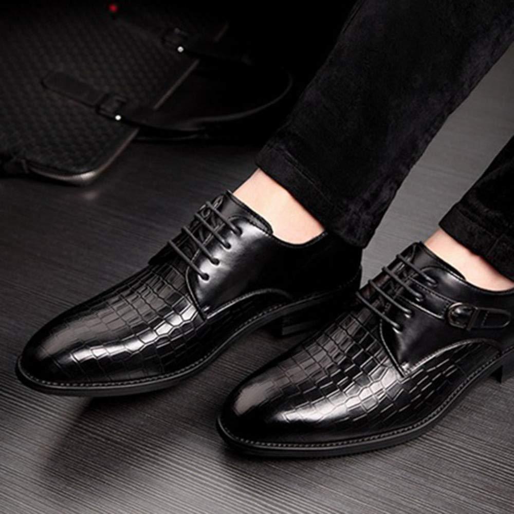 Herren Formal Geschäfts Lederschuh Schnürschuhe Runde Zehe Schuhe Atmungsaktive Schuhe Beiläufige Bequeme Schuhe Zehe Geeignet Für Hochzeit schwarz e7b498
