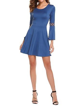 Kleider blau langarm